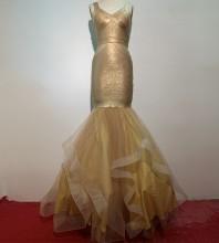 1:1 HL Quality - Gold Backless Mesh Maxi Sleeveless V Neck Bodycon Dress H1166-Gold