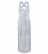 1:1 HL Quality - Silvery Tassels Over Knee Sleeveless Strapy Bandage Dress H1189-Silvery