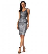 1:1 HL Quality -Gray Backless Frill Mini Sleeveless Strappy Bandage Dress H1244-Gray