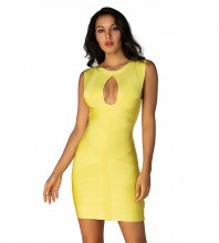 Round Neck Yellow Sleeveless Mini Cut Out Backless Bandage Dress H1248-Yellow