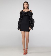Black Backless Frill Mini Long Sleeve Strappy Bandage Dress H1252-Black