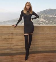 Black Striped Mesh Mini Long Sleeve Round Neck Bandage Dress H1254-Black