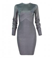 Gray Striped Mesh Mini Long Sleeve Round Neck Bandage Dress H1254-Gray