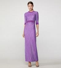 Purple Backless Striped Maxi Mid Sleeve Round Neck Bandage Dress H1301-Purple