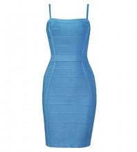 Blue Backless Striped Mini Sleeveless Strappy Bandage Dress H1302-Blue