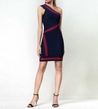 1:1 HL Quality - Dark Blue One Shoulder Sleeveless Mini Evening Bandage Dress H1679-Dark-Blue