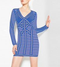 1:1 HL Quality - Blue V Neck Long Sleeve Mini Stripe Fashion Bandage Dress H1681-Blue