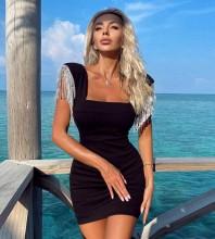 Black Distinctive Tassels Mini Short Sleeve Square Collar Bandage Dress H1708-Black