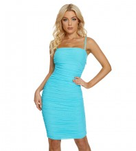 Blue Backless Wrinkled Midi Sleeveless Strappy Bandage Dress H1713-Blue