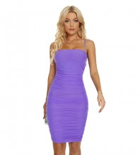 Purple Backless Wrinkled Midi Sleeveless Strappy Bandage Dress H1713-Purple