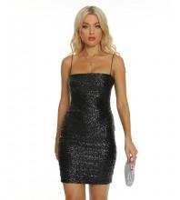 Black Distinctive Sequined Mini Sleeveless Strappy Bodycon Dress H1731-Black