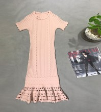 Pink Cut Out Fishtail Mini Short Sleeve Round Neck Bodycon Dress H1732-Pink