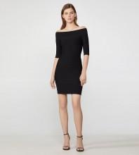 Black Plain Striped Mini Mid Sleeve Off Shoulder Bandage Dress H2778-Black