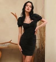 Black Backless Wrinkled Mini Short Sleeve Square Collar Bodycon Dress HB0012-Black