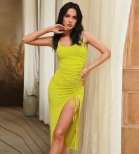 Yellow Wrinkled Backless Midi Sleeveless Halter Bodycon Dress HB0013-Yellow