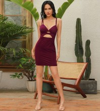 Wine Backless Cut Out Mini Sleeveless Strappy Bodycon Dress HB0018-Wine