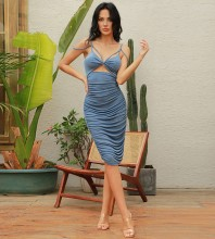 Blue Cut Out Wrinkled Midi Sleeveless Strappy Bodycon Dress HB0038-Blue