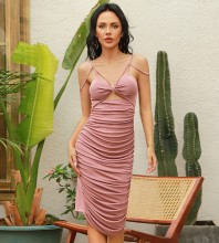 Pink Cut Out Wrinkled Midi Sleeveless Strappy Bodycon Dress HB0038-Pink