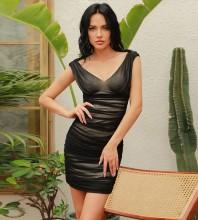 Black Distinctive Wrinkled Mini Sleeveless V Neck Bodycon Dress HB0041-Black