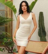 White Distinctive Wrinkled Mini Sleeveless V Neck Bodycon Dress HB0041-White