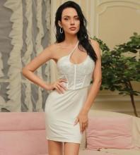 White Asymmetrical Sequined Mini Sleeveless One Shoulder Bodycon Dress HB0060-White