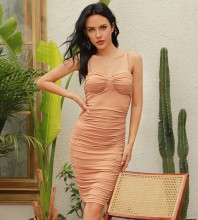 Brown Backless Wrinkled Mini Sleeveless Strappy Bodycon Dress HB0061-Brown