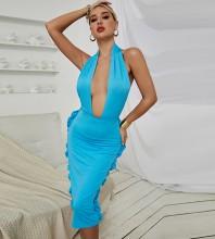 Blue Backless Frill Midi Sleeveless Halter Bodycon Dress HB0148-Blue