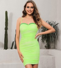 Green Backless Wrinkled Mini Sleeveless Strappy Bodycon Dress HB0184-Green