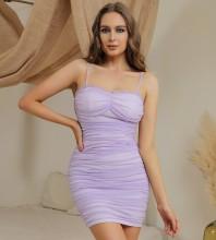 Purple Backless Wrinkled Mini Sleeveless Strappy Bodycon Dress HB0184-Purple