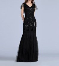 Black Round Neck Cap Sleeve Maxi Sequins Bodycon Dress HB041084-Black
