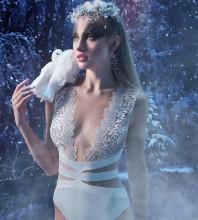 White V Neck Sleeveless Mini Lace Bandage Bodysuit HB05786-White