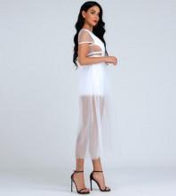 White Cutout Over Knee Short Sleeve Round Neck Bandage Dress HB07043-White