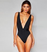 Black V Neck Sleeveless Mini Backless Bandage Bodysuit HB07062-Black