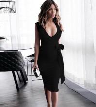 Black V Neck Sleeveless Mini Cut Out Bodycon Dress HB5527-Black