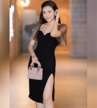 Black Slit Mesh Over Knee Short Sleeve Square Collar Bodycon Dress HB6114-Black