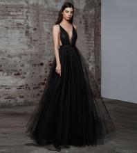 Black Chiffon Maxi Sleeveless V Neck Bodycon Dress HB6304-Black