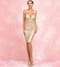 Gold Slit Sequins Mini Sleeveless Strapy Bodycon Dress HB6362-Gold