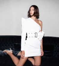 White Asymmetrical Girdle Mini Long Sleeve One Shoulder Bodycon Dress HB6441-White
