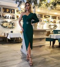 Green Asymmetrical Belt Over Knee Long Sleeve One Shoulder Bodycon Dress HB6521-Green