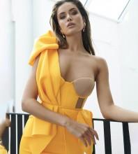 Mini Yellow One Shoulder Sleeveless Mesh Asymmetrical Bodycon Dress HB6591-Yellow