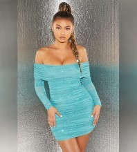 Blue Shiny Mesh Mini Long Sleeve Off Shoulder Bodycon Dress HB6621-Blue