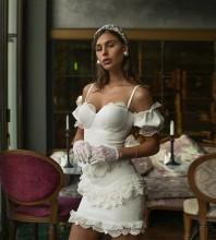 White Lace Frill Mini Short Sleeve Strappy Bodycon Dress HB6669-White