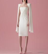 White Slit Wrinkled Over Knee Long Sleeve Square Collar Bodycon Dress HB6673-White