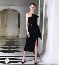Strapless Black Sleeveless Over Knee Frill Slit Bodycon Dress HB6710-Black