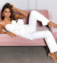 White Strapless Sleeveless Bowknot Backless Bodycon Jumpsuits HB6711-White