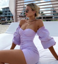 Off Shoulder Purple Mid Sleeve Mini Ruched Backless Bodycon Dress HB6749-Purple