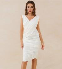 White Distinctive Wrinkled Knee length Sleeveless V Neck Bodycon Dress HB6760-White