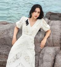 White Distinctive Lace Midi Short Sleeve V Neck Bodycon Dress HB6792-White