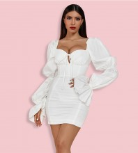 White Hollow out Tie Mini Long Sleeve Square Collar Bodycon Dress HB6793-White