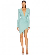Mint Distinctive Wrinkled Mini Long Sleeve V Neck Bodycon Dress HB6799-Mint